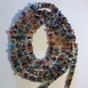 """Jewelry - Sterling 48"""" multi stone chip necklace"""